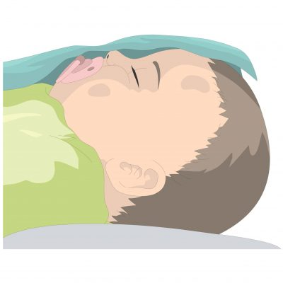 A baby sleeping with a dummy which is preventing SIDS.