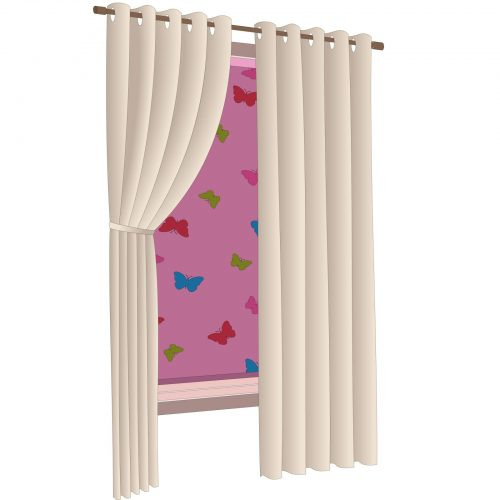 A window with a roll down blind as well as curtains.
