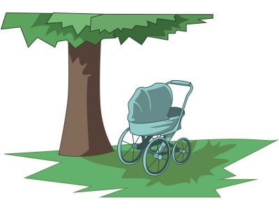A pram in the shade of a tree
